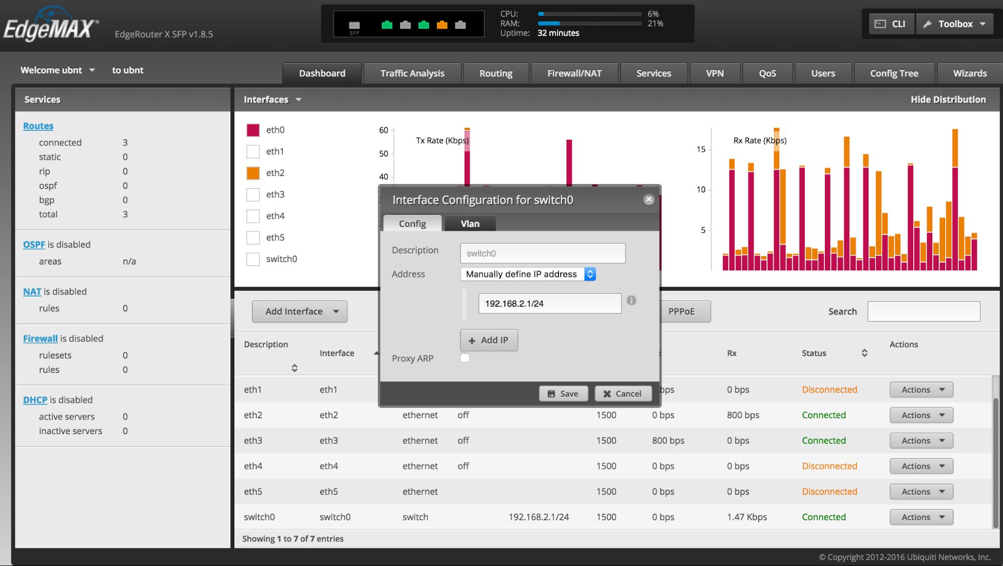 EdgeRouter - 시스템 - EdgeRouter를 스위치로 활용하기