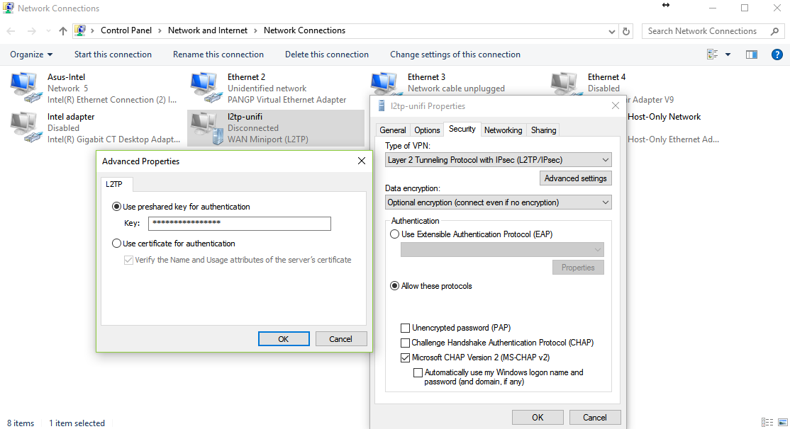 UniFi - RADIUS 서버를 USG VPN과 사용하여 L2TP 원격 접속